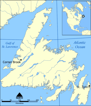 Map of Newfoundland, Canada