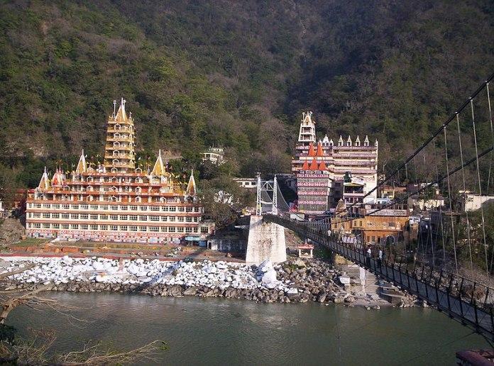 Rishikesh view across Lakshman Jhula bridge over the Ganges