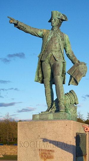 Rochambeau statue in Newport, Rhode Island, USA