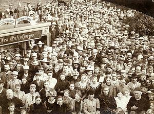 Sebastian Kneipp and his followers, 1880s, gel...