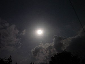 Night sky with moon and clouds, in Thailand (f...