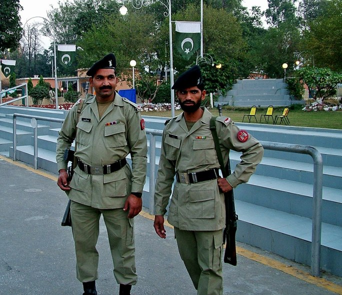 Soldiers at Wagah border