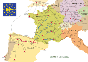 Map of the Way of St. James in Europe