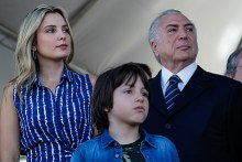 Michel Temer, Marcela-michel temer wife, and their son Michel attend the 2017 Independence Day parade in Brasília.