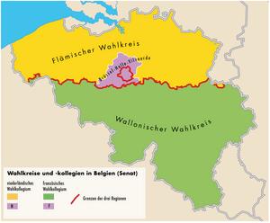 Deutsch: Die Wahlkreise für den belgischen Senat