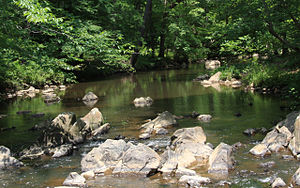 New Hope Creek, looking west from rocks in the...