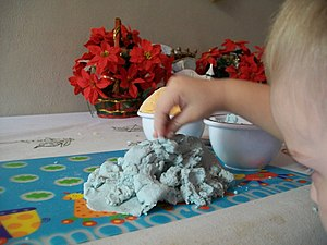 English: Bowl of homemade play dough with colo...