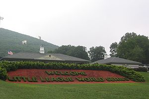 Cropped version of topiary Welcome Sign at the...