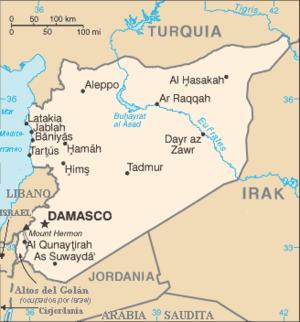 Mapa de Siria, al Este del Mar Mediterráneo