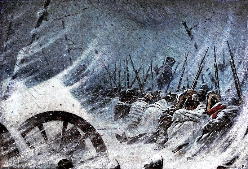 L'armata napoleonica bivacca durante la ritirata di Russia
