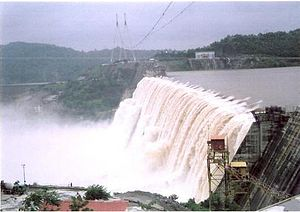 Sardar Sarrovar Dam in Gujarat, partially comp...