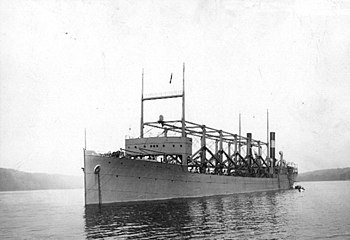 USS Cyclops (1910-1918); Anchored in the Hudso...