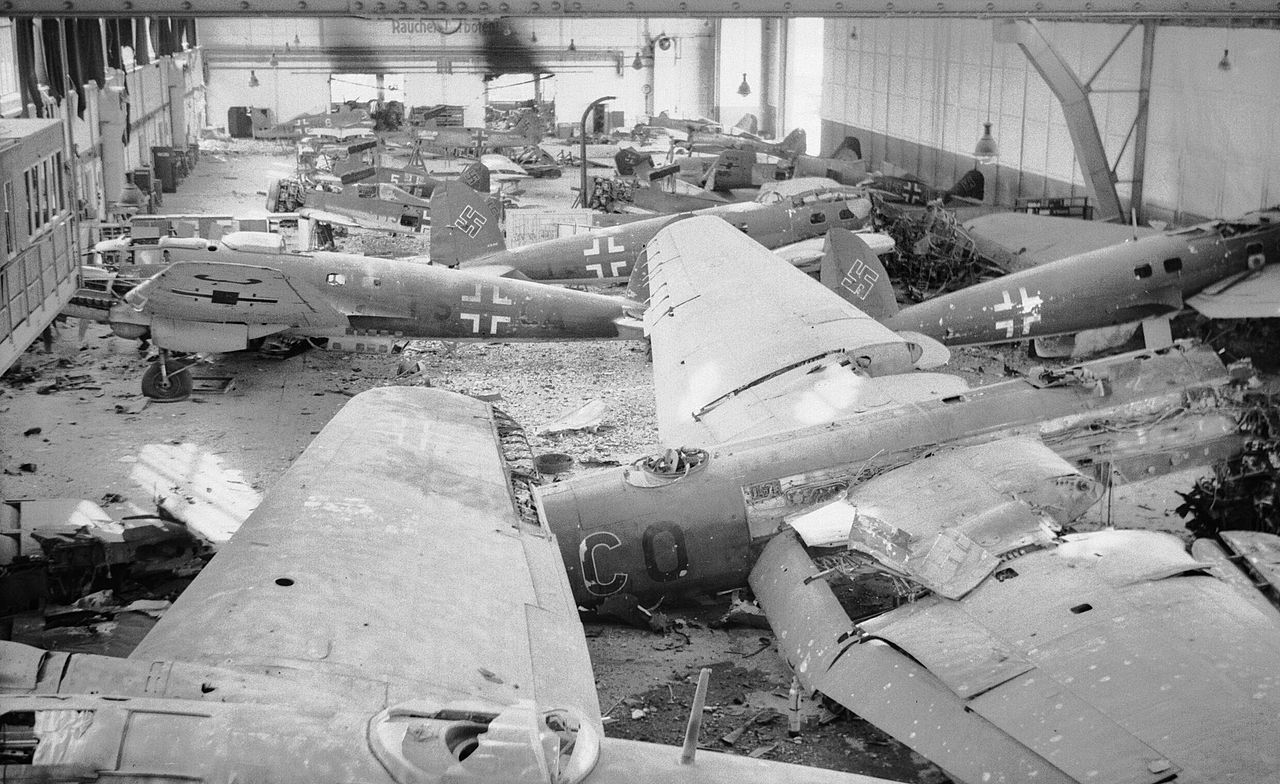 FileA hangar full of wrecked German aircraft at