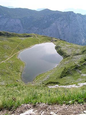 Blick auf den Augstsee im Ausseerland, Österreich