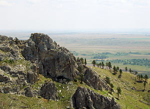 English: View from the hilltop of Bear Butte, ...