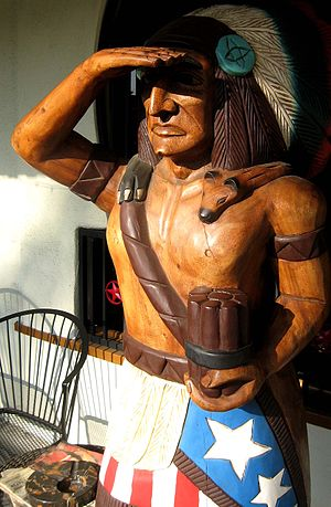 "English: ""Cigar store Indian"" outsid..."