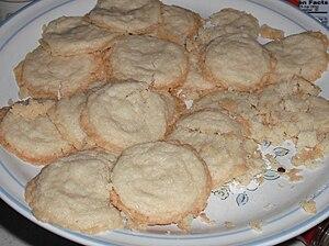 Cooking gluten-free shortbread cookies.