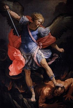 Archangel Michael tramples Satan