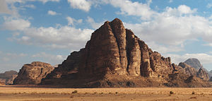 Seven Pillars of Wisdom rock formation in Wadi...
