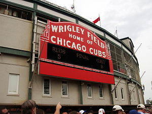 Sign on the outside of Wrigley Field