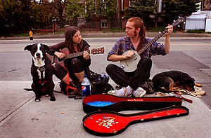 Street musicians and their dogs on Roncesvalle...