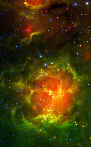 The Trifid Nebula in infrared as seen by the S...