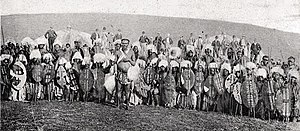 Historical picture of Zulu warriors from about...