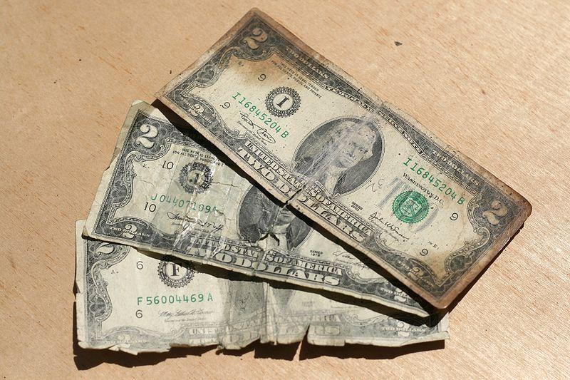2010-04-10 Three ratty two-dollar bills