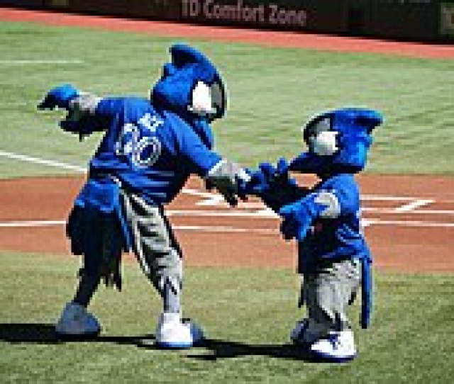Ace And Junior Exchange Greetings Before The Game Ace Was The Blue Jays Second Mascot Introduced In 2000 Junior Is A Mascot Occasionally Seen For Junior