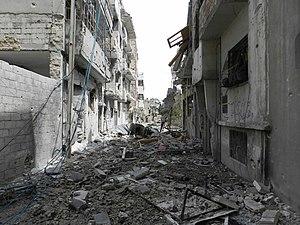 Zerstörter Straßenzug in Homs
