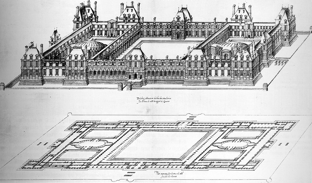 FileDrawing of an enlarged project of 1578 to 1579 for the Tuileries by Jacques Androuet du