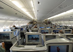 Business Class of the Airbus 380 travelling fr...
