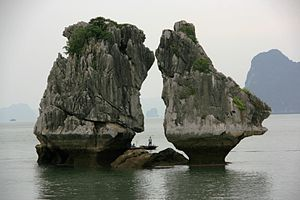 English: Kissing Rocks in Halong Bay in Vietnam