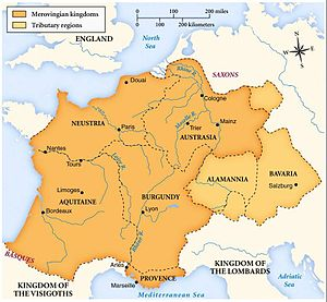 Map of the merovingian kingdoms
