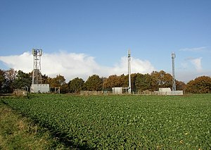 English: Three radio masts off Blacker Lane, N...