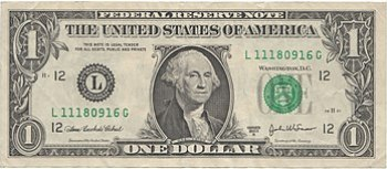 Obverse of United States one dollar bill, seri...
