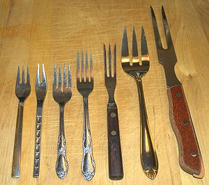 Assorted forks. From left to right: dessert fo...