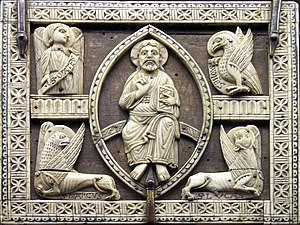Christ in majesty within a mandorla-shaped aur...