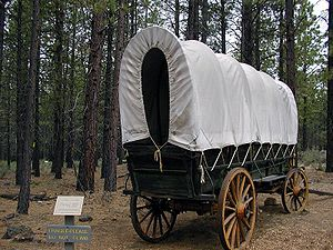 A replica of one of the original covered wagon...