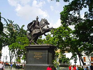 Statue of the Libertador of the Plaza Bolívar ...