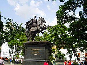 Statue of the Libertador of the Plaza Bolívar ...