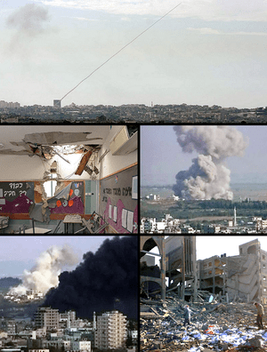A montage of the Gaza War.