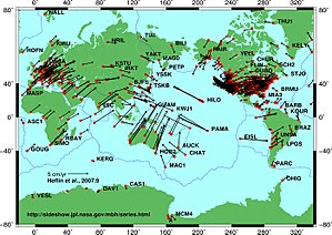 Plate tectonic movements measured by GPS devices.