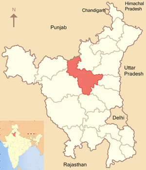 English: A locator map of Jind district, Haryana