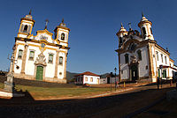 Igrejas em estilo barroco em Mariana.