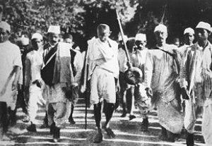 Gandhi during the Salt March, March 1930. Fran...