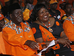 Raila Odinga and his wife Ida Odinga during th...