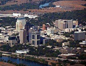 English: Aerial view of Sacramento, California.