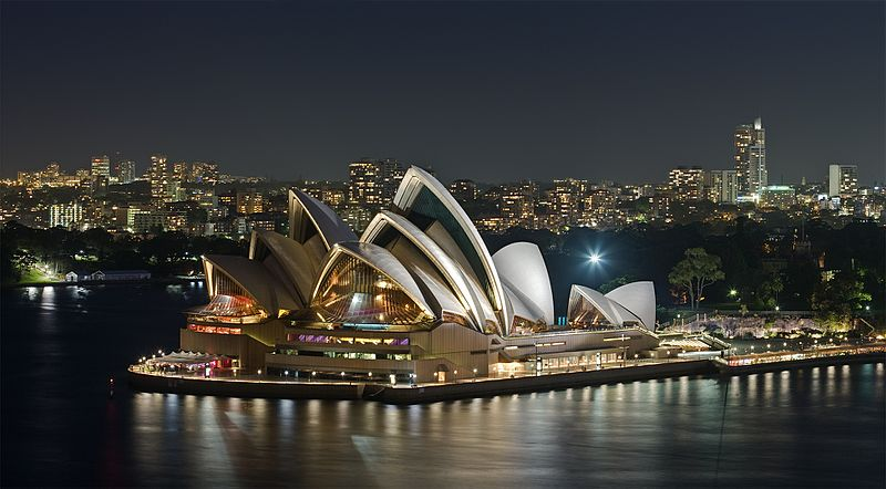 Sydney Opera House at Night. Thanks WikiCommons.