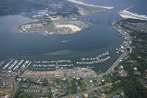 Yaquina Bay near Newport, Oregon, USA, where t...